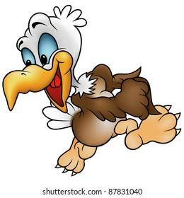 Walking Bald Eagle - cartoon illustration