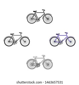 Walking bicycle with large shields and curves driving. Economical transport.Different Bicycle single icon in cartoon style bitmap symbol stock illustration.
