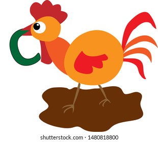 A walking cock carrying the letter C with his beak.