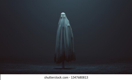 Walking Evil Spirit with Glowing Eyes in a Death Shroud in a foggy void 3d Illustration 3d Rendering
