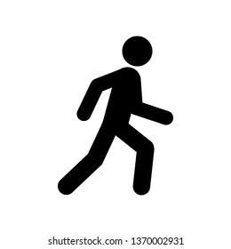 Walking man symbol. Pedestrian icon. Black sign over white background