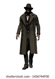 Walking Man with Trenchcoat 3-D-Illustration