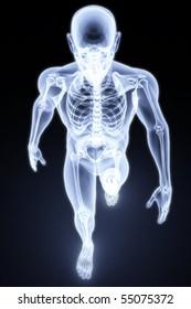 walking man under X-rays. 3d render.
