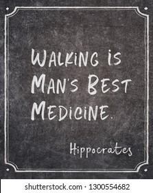 Walking is man's best medicine - ancient Greek physician Hippocrates quote written on framed chalkboard