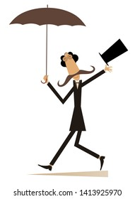 Walking mustache man in the top hat isolated illustration. Long mustache man in the top hat walking with umbrella isolated on white illustration