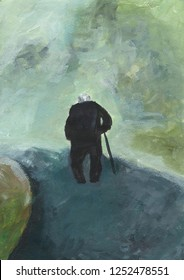 Walking old man. Gray-haired elderly man goes along the road. Lonely senior citizen with a cane. Oldness, loneliness, lees of life. View from the back. Abstract painting. Handpainted illustratration.