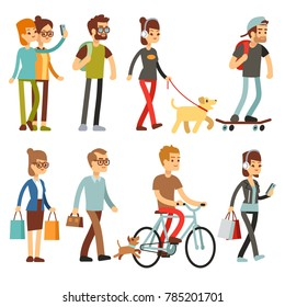 Walking people. Human persons on street in outdoor activity set. People woman and man, illustration of people walking and cycling