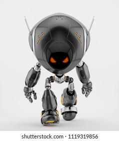 Walking robotic creature with antennas, 3d illustration