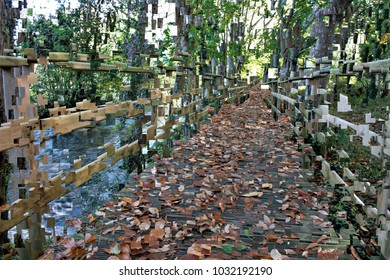 walking through the woods on wooden walkways, tribute to Pollock, Abstract expressionism, composition with sparkles and diffusion of colors.,  graphic,