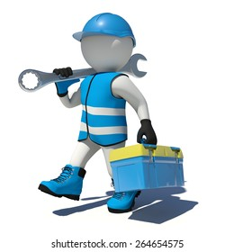 Walking worker in overalls holding tool box and wrench on his shoulder. Isolated render on white background