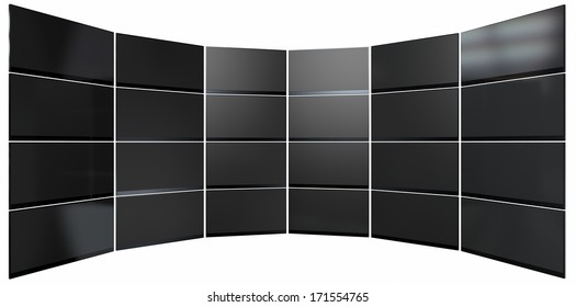A wall of 24 stacked flat screen televisions mounted in an arc shape on an isolated white background