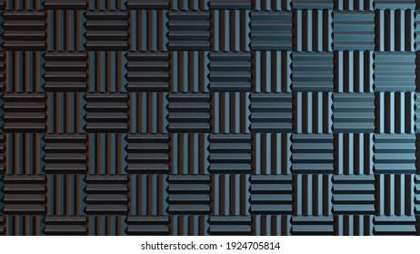 Wall of acoustic foam panels illuminated cold light. 3d illustration
