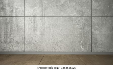 Wall of big grey tiles and wooden flooring, as a interior design concept. Background idea with horizontal lines. 3d Render