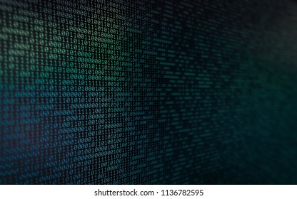 Wall of Binary Data with narrow depth of field added grain and colour gradients