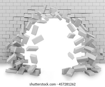 Wall broken through 3d rendering
