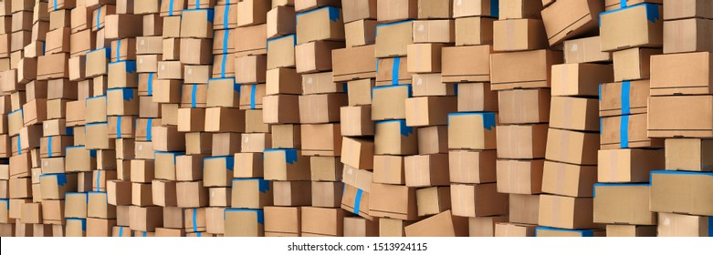 Wall of cardboard boxes and packages by mail order as a background header (3d rendering)