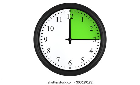 Wall clock showing a 15 minutes green time interval, isolated on a white background. Realistic 3D computer generated image.