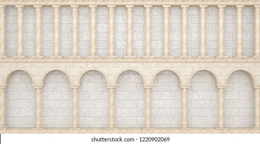 Wall with columns in the antique style. Great colonnade. 3D Illustration
