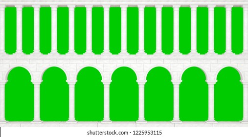 Wall with columns in the antique style isolated on green background. Great colonnade. 3D Illustration