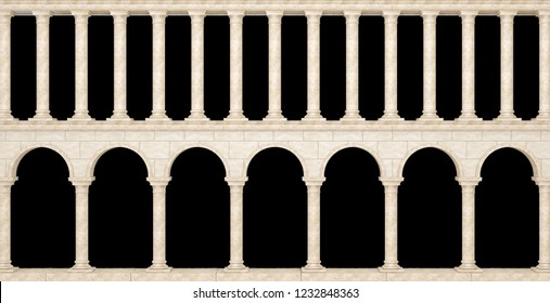Wall with columns in the antique style isolated on black background. Great colonnade. 3D Illustration