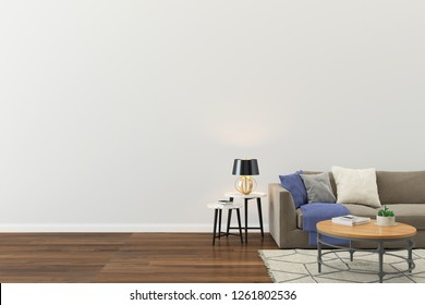 Wall Concrete Sofa Wood Floor Table 3D Render Background Template