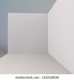 Wall Corner With Space For Display, Branding Or Placing Advertising Stuff. Empty Exhibition Fair Trade Booth. 3D rendering