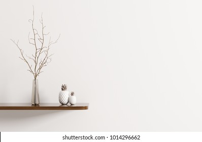 Wall decoration, wooden shelf with branchin vase, interior background 3d rendering