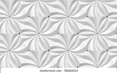 Wall design white eco tiles. Shaded geometric modules. High quality seamless 3d illustration.