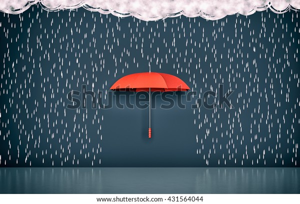 wall with the drawing of dark clouds, rain and one umbrella, concept of protection and security (3d render)