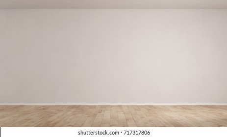 Wall in empty room with wooden floor as background (3D Rendering)