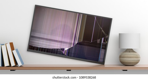 Wall flat tv with broken glass, books and a lamp on a shelf, white wall background. 3d illustration