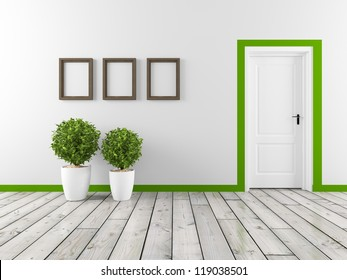 wall with frame and white door