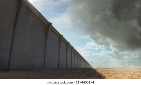 The Wall - A giant wall looms over us in a arid desert environment.  Clouds appear bright and sunny on one side, overcast on the other side. 3D rendering