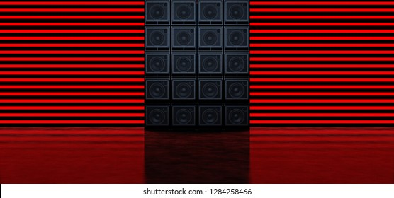 A wall of guitar amplifiers against a background of horizontal red glowing stripes. Background of the luminous bands and guitar amplifiers. 3D Illustration