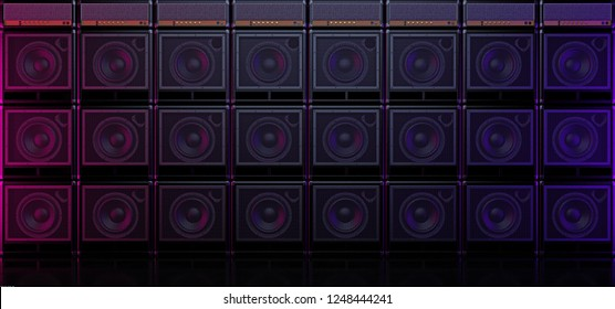 Wall of guitar amps in dark space. Guitar amplifiers placed on each other. Guitar amp background. 3D illustration