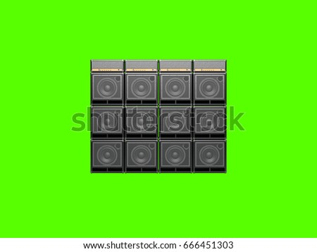 Wall Guitar Amps On Light Background Stock Illustration 666451303