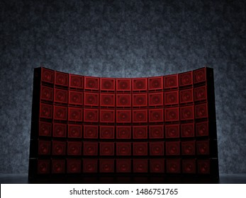 A wall of guitar red light amps against a blue wall. Abstract semicircular wall of guitar amps. 3D Render