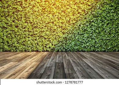 Wall in interior with vertical green garden. 3D illustration.