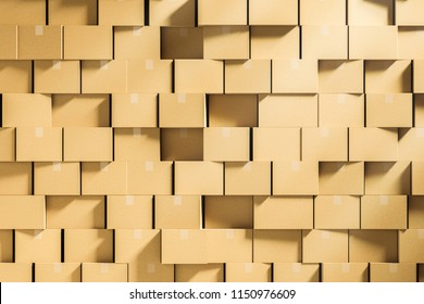 Wall made of closed cardboard boxes stacked in chaos. Concept of delivering goods, consumerism and overproduction. 3d rendering mock up