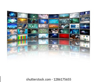 Wall of Media Screens with various pictures. 3D rendering