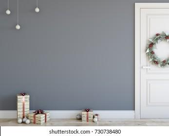 wall mock up Christmas interior. Scandinavian style. Wall art. 3d rendering, 3d illustration