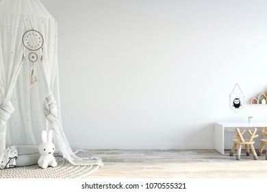 Wall mock up. Child's room interior. Scandinavian style. 3d rendering, 3d illustration