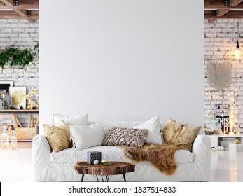 Wall mockup in living room. Christmas interior. Scandinavian style. 3d rendering, 3d illustration