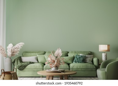 Wall mockup in modern living room design, minimal furniture with wooden home accessories on green background, 3d render, 3d illustration