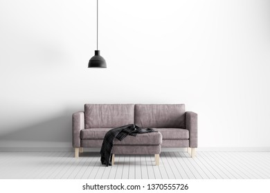 Wall Mockup in White Interior with Sofa and Decoration – 3d Illustration, 3d Rendering