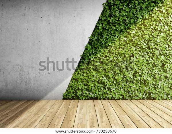 Pared de interior moderno con bloques de hormigón y jardín vertical.Ilustración 3D.