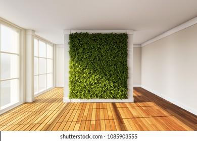 Wall in modern interior with vertical garden. 3D illustration.