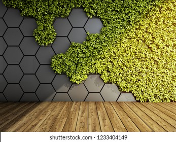 Wall in modern interior with vertical green garden. 3D illustration.