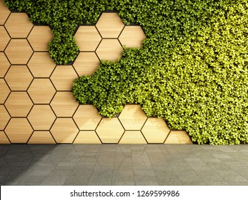 Wall in modern interior with vertical green garden. 3D illustration.