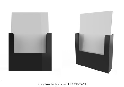 wall mount brochure holder isolated on white background. 3d illustration